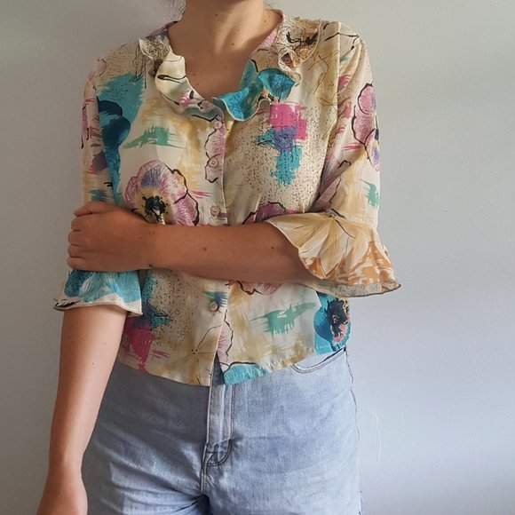 1990's Floral Blouse with Ruffled Sleeves & Collar